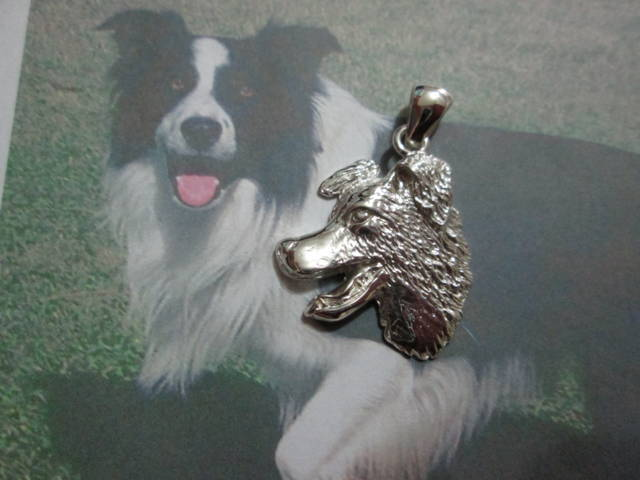 Border Collie (Testa) - Ciondolo (Argento) - Border Collie (Head)- Pendant (Silver)