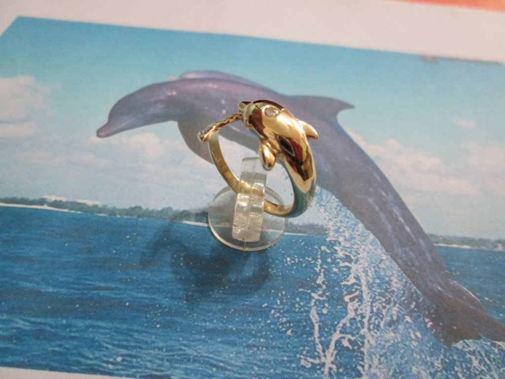 Delfino - Anello (Oro) - Dolphin with Diamond - Ring (Gold)