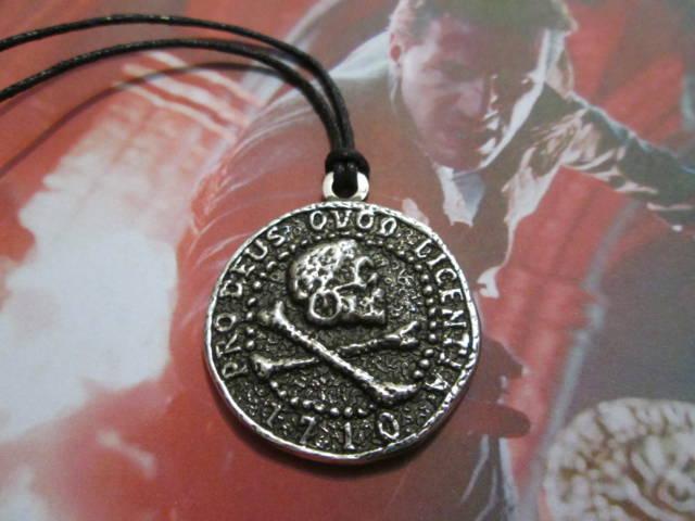 Silver Pendants Coin With Skull Nathan Drake Pendant