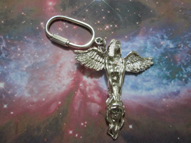 Donna Angelo con Teschio - Portachiavi (Argento) - Winged Lady with Skull - Keyring (Silver)