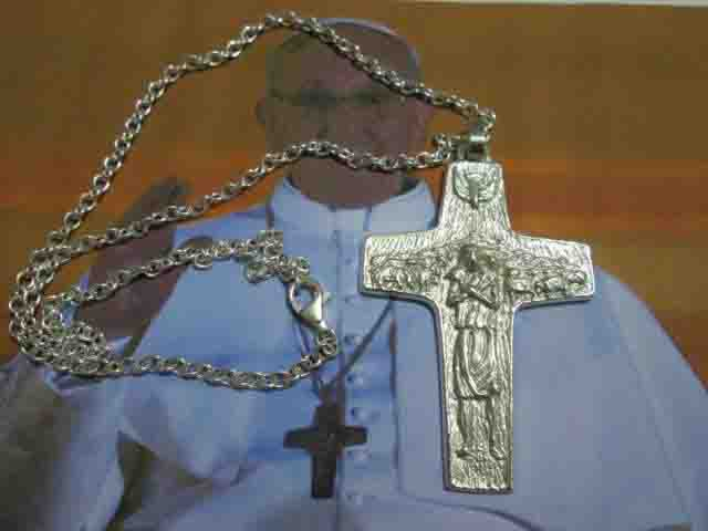 Croce di Papa Francesco 7cm con Catena (Argento) - Pope Francis Cross 7cm with Chain (Silver)