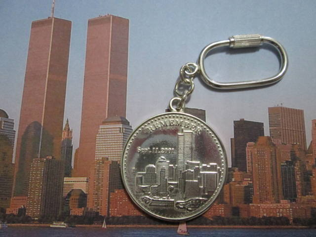 Moneta delle Torri Gemelle - Portachiavi (Argento) - Coin of the Twin Towers - Keyring (Silver)